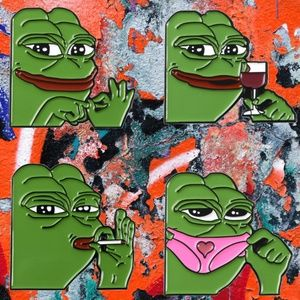 Pepe Frog Meme Lot of 4 Enamel Fashion Pins New